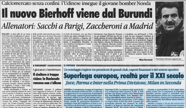 superlega europea la stampa