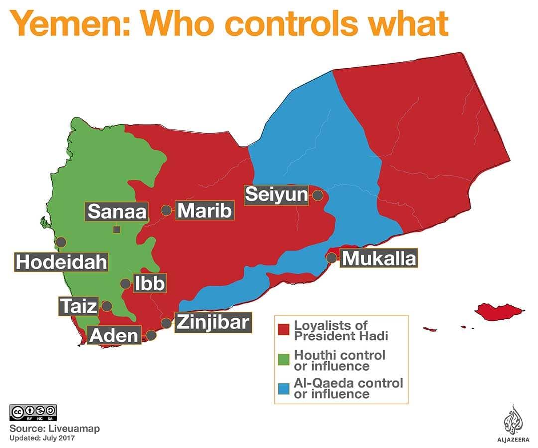 mappa della situazione del conflitto in Yemen 2017