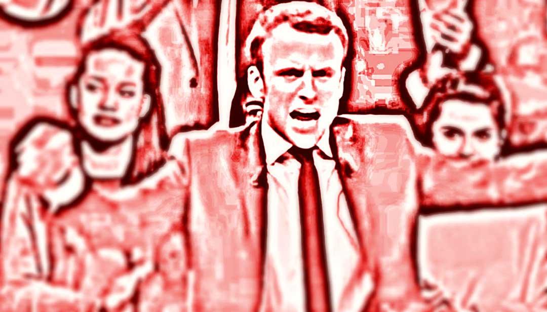 Macron festeggia la vittoria di Macron alle elezioni francesi del 2017