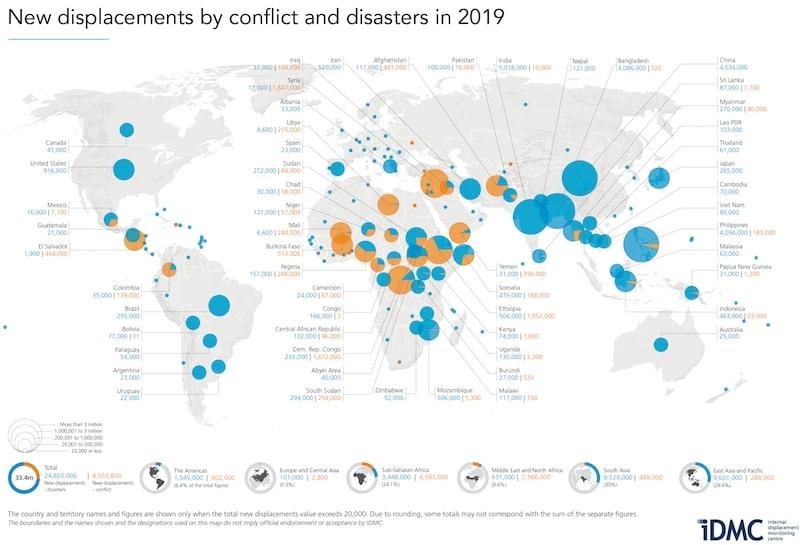 mappa migranti e disastri ambientali